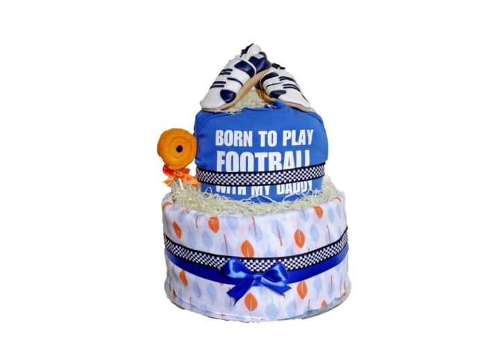 Born to Play Football with Daddy Diaper Cake