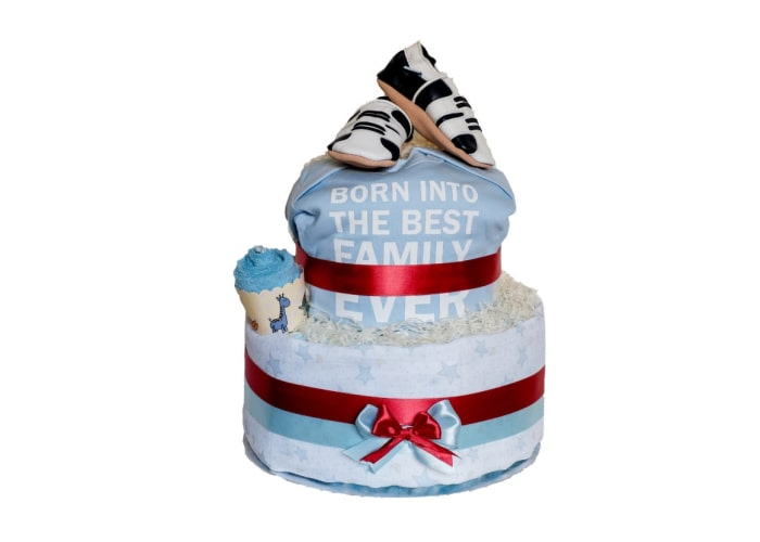 Boy Born into the best family ever diaper cake