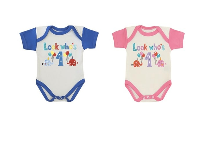 First Birthday personalised bodysuits