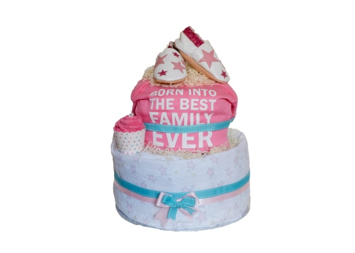 Girl Born into the best family ever diaper cake