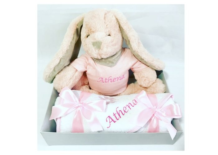 Personalised Bunny and Baby Towel set