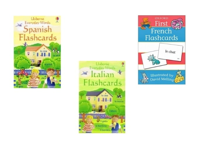 spanish,french, italian flashcards