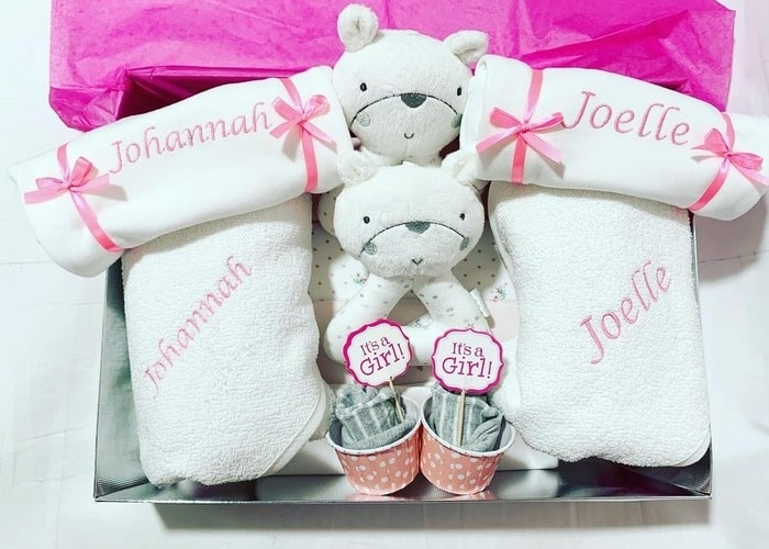 Welocme Twins girls personalised gift set