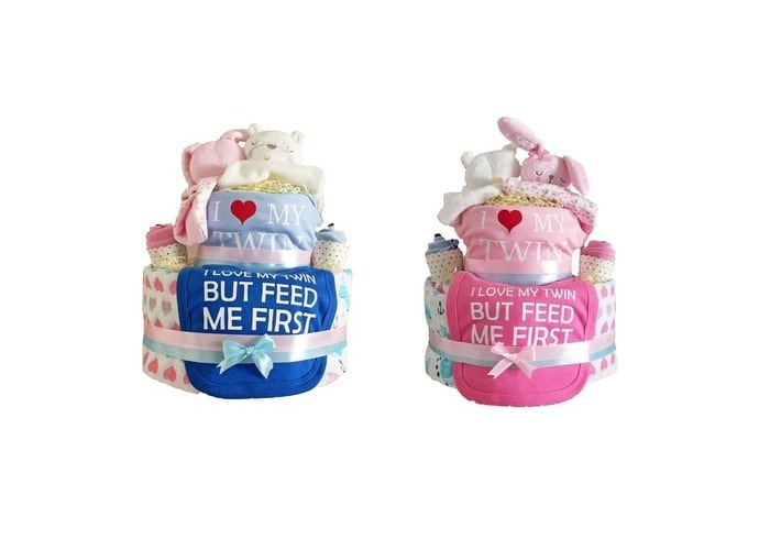 2-tier Welcome Twins Diaper Cake