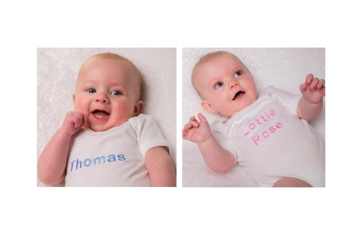 personalised white baby bodysuits