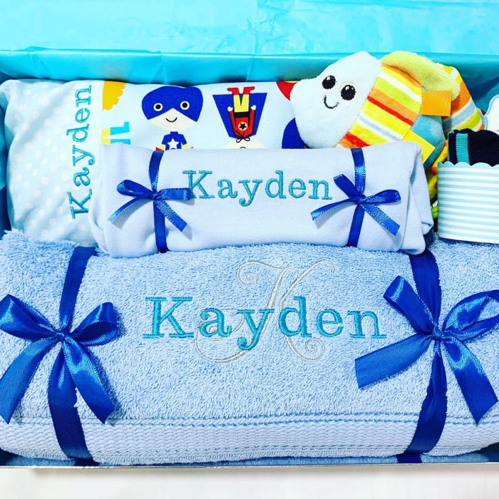 my superhero personalised baby boy gift set