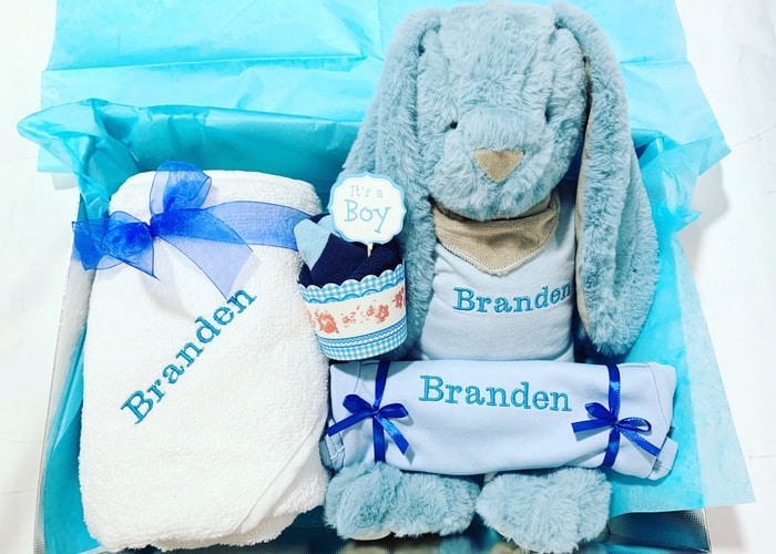Personalised new baby boy gift hamper