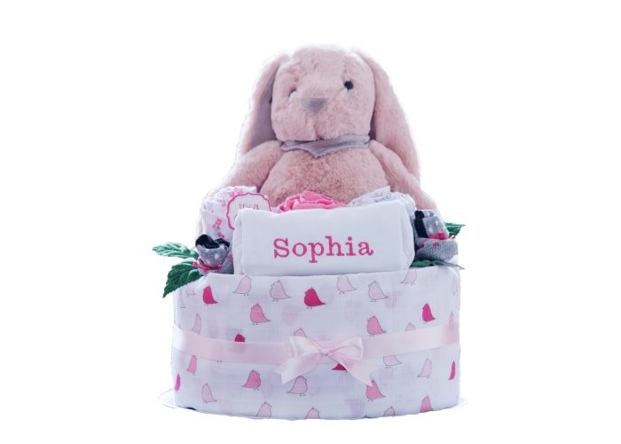 personalised baby girl diaper cake