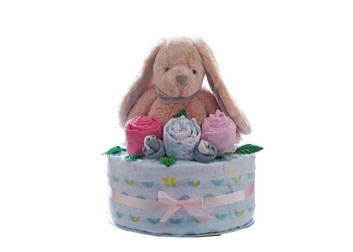 personalised bunny girl diaper cake