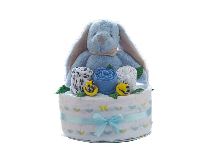 personalised my first bunny boy diaper cake