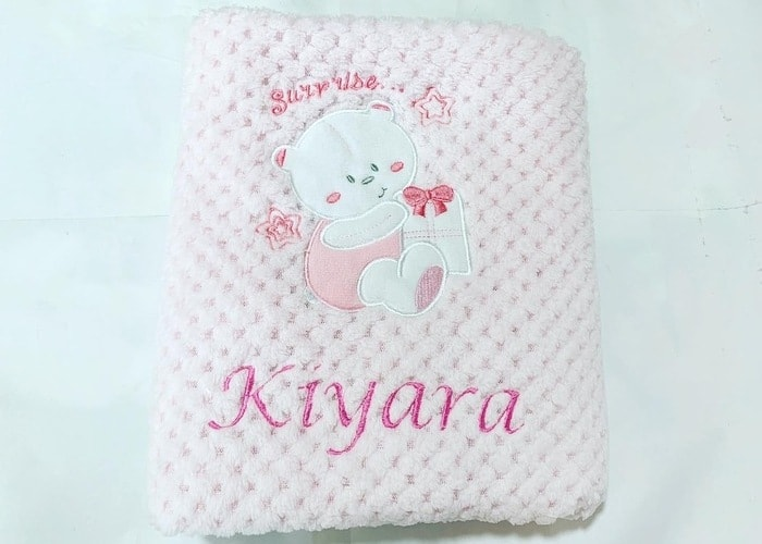Personalised Fleece Baby Girl Blanket