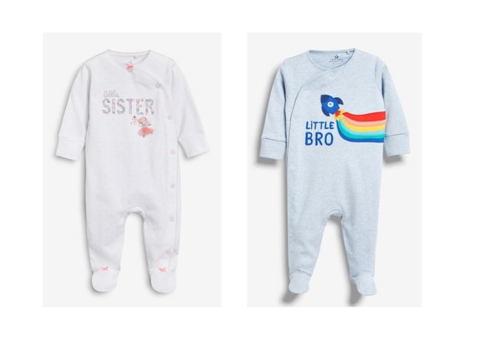 Little brother and sister sleepsuits