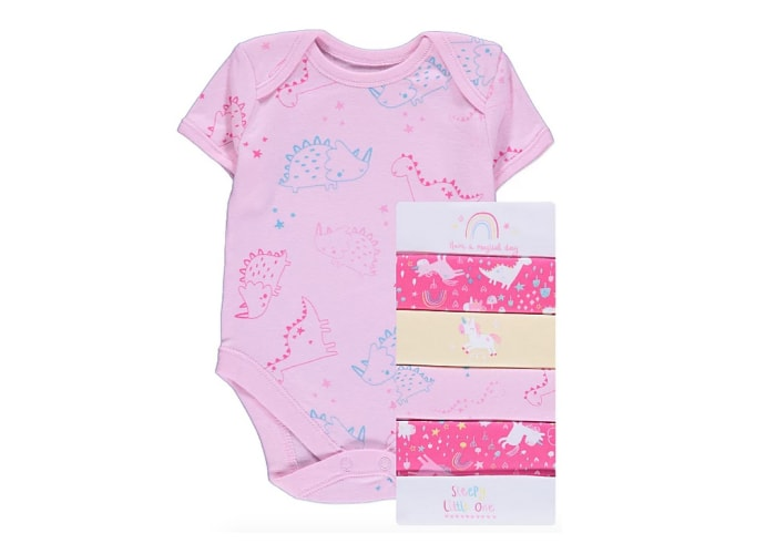 7pc Pink Unicorn Short Sleeve Bodysuits