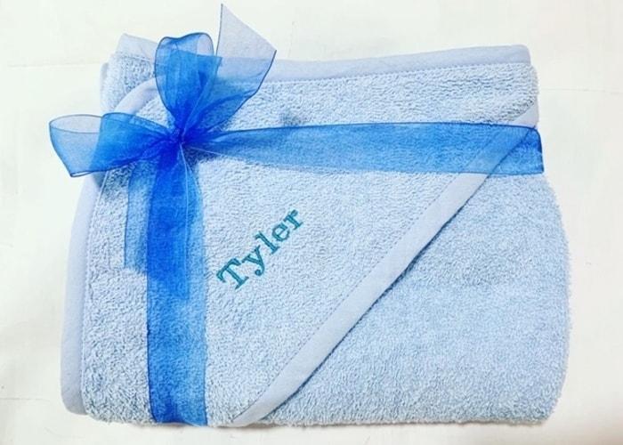 personalised baby boy hooded bath towel