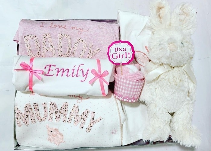 My Daddy and Mummy Personalised Hamper with Bunny Toy