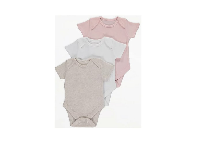 3 Pack Mixed Colours Short Sleeve Bodysuits
