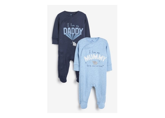 Mummy and Daddy baby boy sleepsuits
