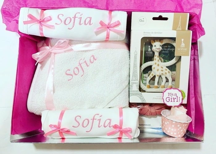 Sophie the Giraffe baby girl personalised gift set