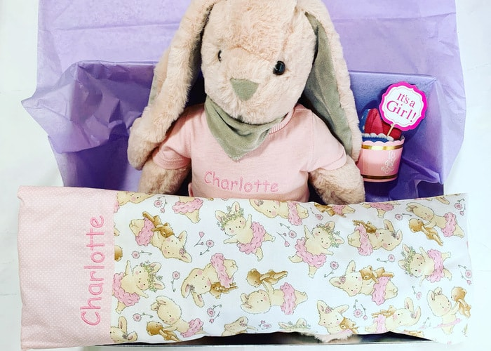 Personalised Bunny soft toy and bunny pillow