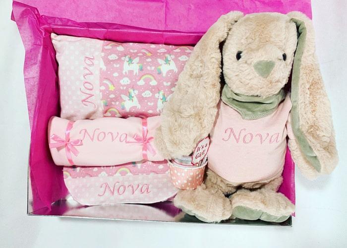 Pink Unicorn Personalised baby gitl gift hamper