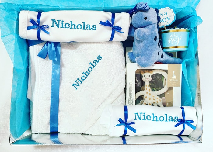 baby boy personalised gift set