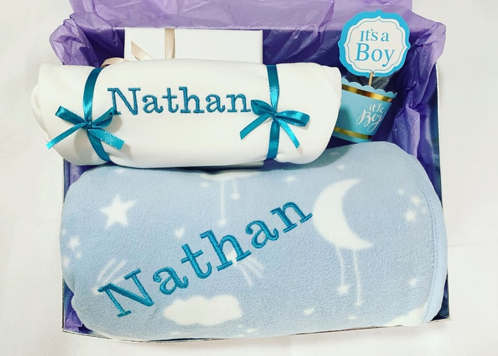 Love you to the moon and back baby boy hamper