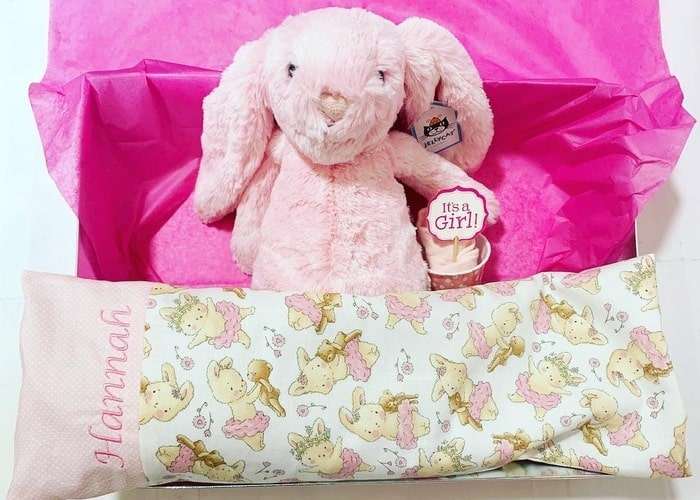 Bunny and personalised pillow