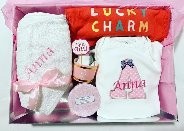 Lucky Charm Personalisd newborn gift hamper