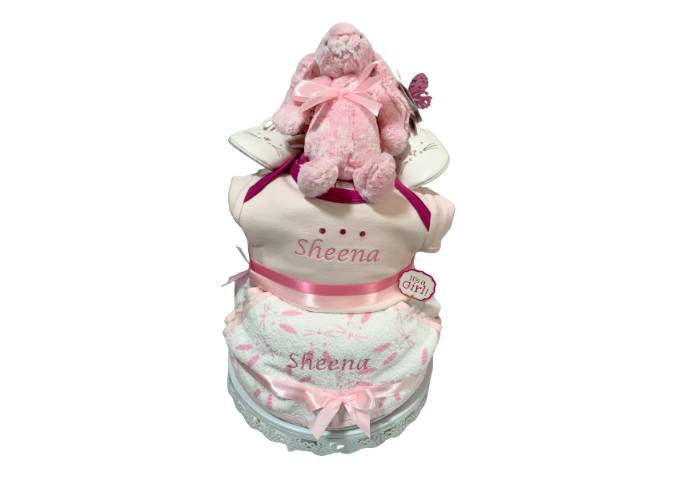 Welcome Baby Girl Personalised Diaper Cake
