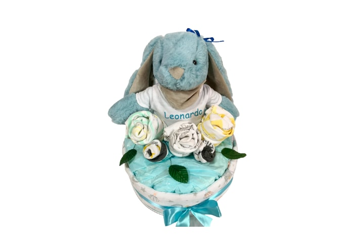 My First Blue Bunny Baby Boy Personalised Diaper Cake front2