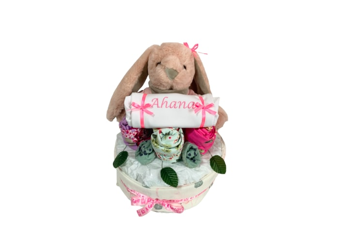 My First Blue Bunny Baby Girl Personalised Diaper Cake front