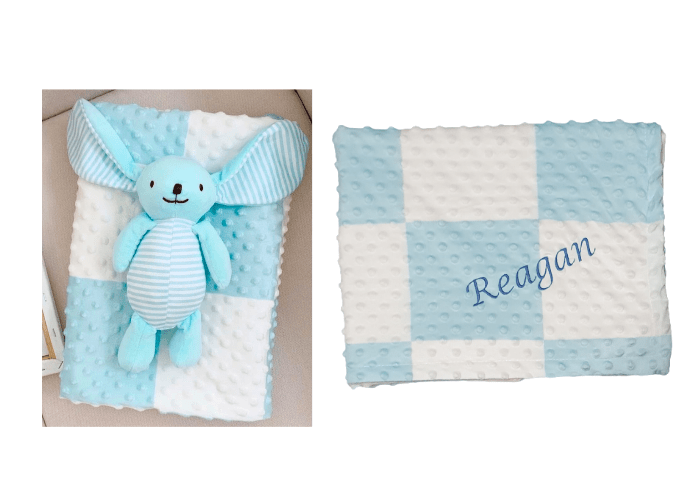 Personalised Minky Baby biy blanket with toy