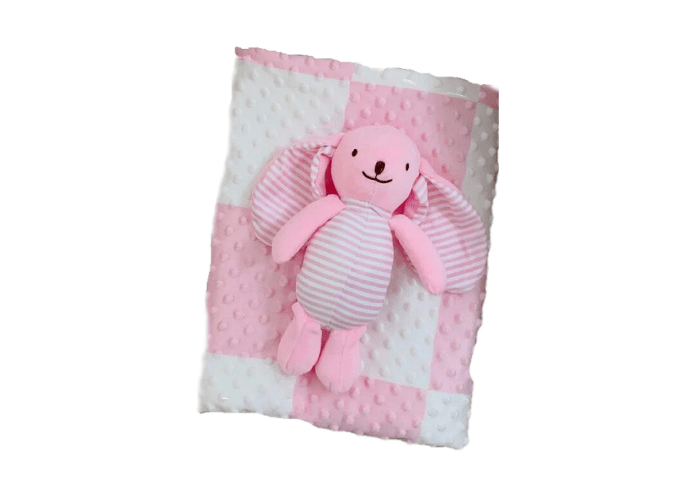 Personalised Minky Baby girl blanket with toy