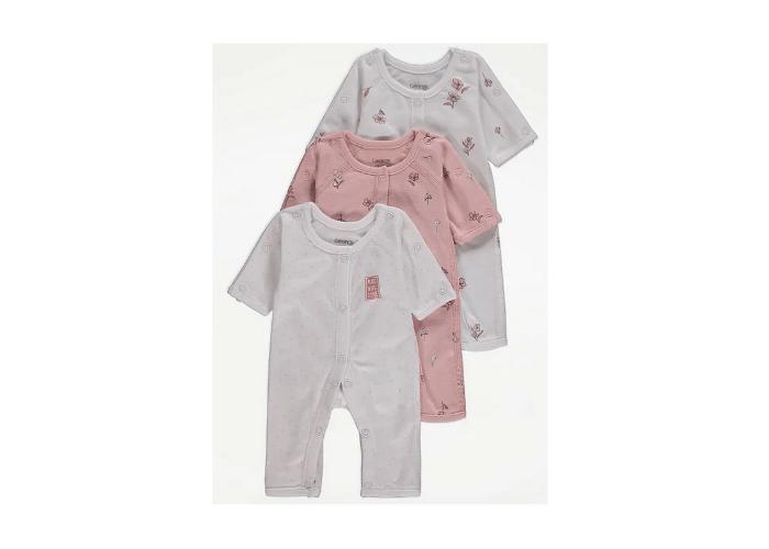 3Pack Preemie Baby Girl sleepsuits 5lb