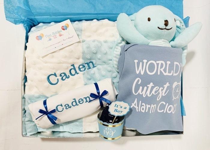 worlds cutest alarm clock baby boy personalised gift hamper